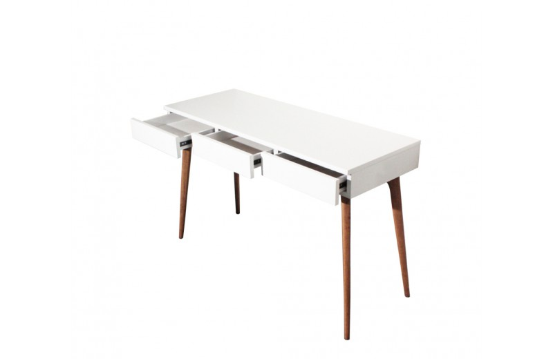 Console bureau design vintage bois blanc retro so dezign for Bureau blanc et bois