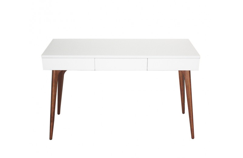 console bureau design vintage bois blanc retro so dezign