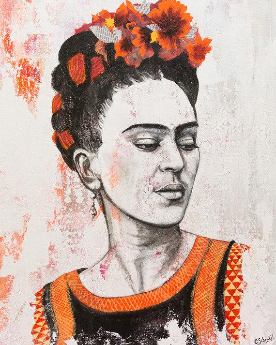 Tableau Portrait Frida Kahlo Naranja
