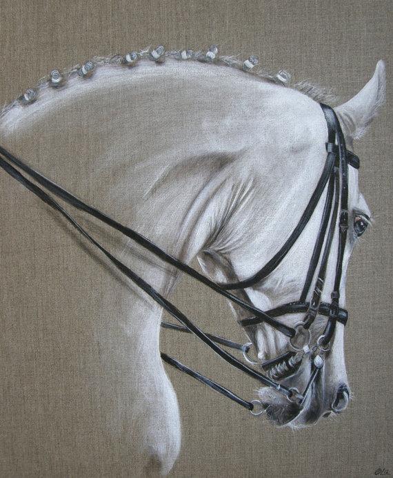 Tableau cheval rênes noires sur toile de lin
