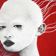 Traces blances - tableau carré 40x40cm acrylique encre de chine chassis 3D portrait féminin noir et blanc et rouge