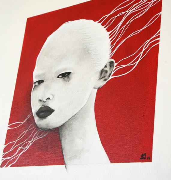 Traces blances - tableau carré 40x40cm acrylique encre de chine chassis 3D portrait féminin noir et blanc et rouge2