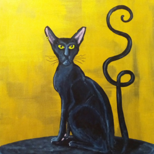 tableau chat noir toile peinture