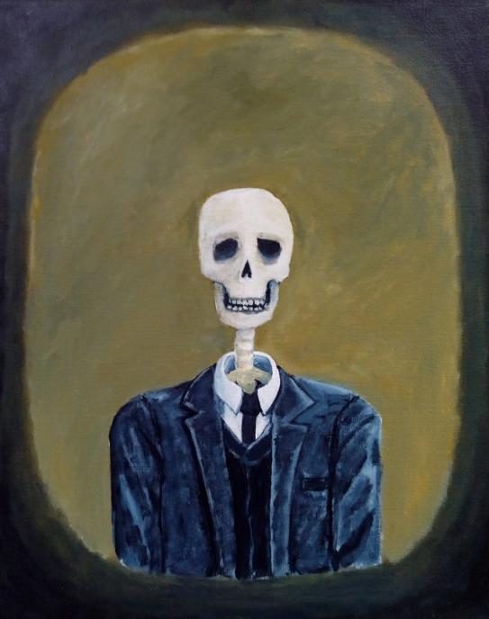 tableau lancetre acrylique squelette