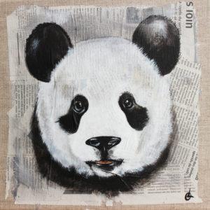 tableau panda toile de lin
