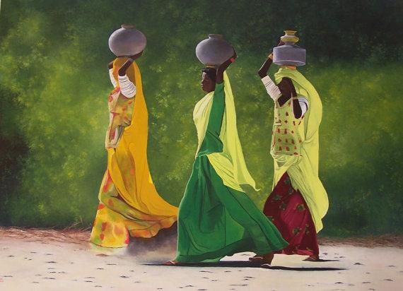 Tableau peinture huile - Femmes indiennes