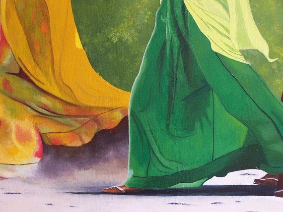 Tableau peinture huile - Femmes indiennes 2