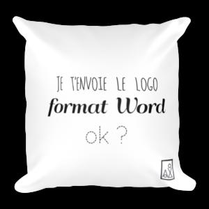 """Coussin déco imprimé : """"Je 't'envoie le logo format Word"""""""
