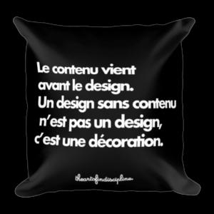Coussin imprimé – Le contenu vient avant le design